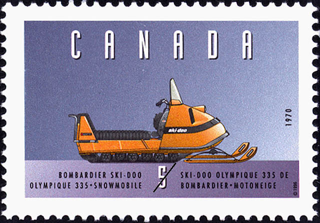 Bombardier Ski-Doo Olympique 335, 1970, Snowmobile Canada Postage Stamp | Historic Land Vehicles
