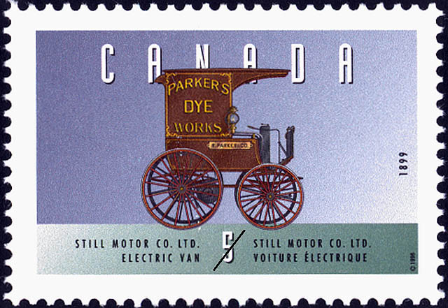 Still Motor Co. Ltd., 1899, Electric Van Canada Postage Stamp | Historic Land Vehicles
