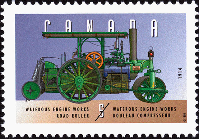 Waterous Engine Works, 1914, Road Roller Canada Postage Stamp | Historic Land Vehicles