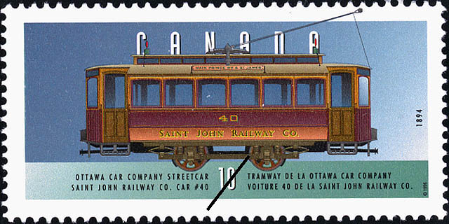 Ottawa Car Company Streetcar, 1894, Saint John Railway Co. Car #40 Canada Postage Stamp | Historic Land Vehicles