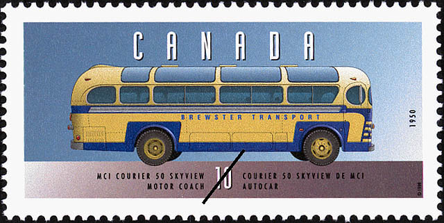 MCI Courier 50 Skyview, 1950, Motor Coach Canada Postage Stamp | Historic Land Vehicles