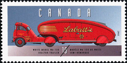 White Model WA 122, 1947, Tractor-Trailer Canada Postage Stamp | Historic Land Vehicles