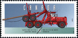 Hayes HDX 45-115, 1975, Logging Truck Canada Postage Stamp | Historic Land Vehicles