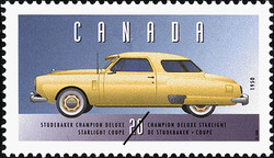 Studebaker Champion Deluxe, 1950, Starlight Coupe Canada Postage Stamp | Historic Land Vehicles