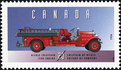 Bickle Chieftain, 1936, Fire Engine Canada Postage Stamp | Historic Land Vehicles