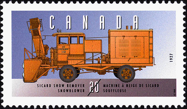 Sicard Snow Remover, 1927, Snowblower Canada Postage Stamp | Historic Land Vehicles