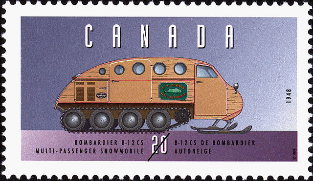 Bombardier B-12 CS, 1948, Multi-Passenger Snowmobile Canada Postage Stamp | Historic Land Vehicles