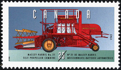 Massey-Harris No. 21, 1942, Self-Propelled Combine Canada Postage Stamp | Historic Land Vehicles