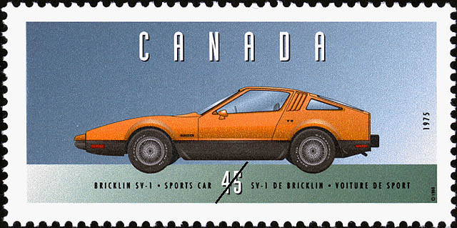 Bricklin SV-1, 1975, Sports Car Canada Postage Stamp | Historic Land Vehicles