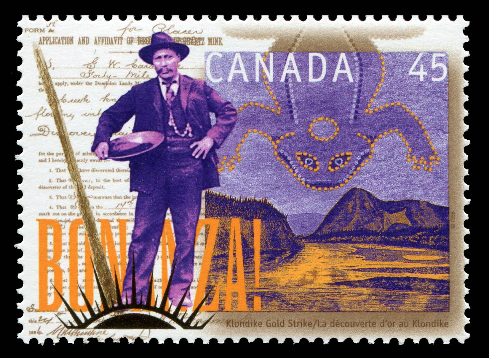 Klondike Gold Strike Canada Postage Stamp   Yukon Gold Discovery, 1896-1996