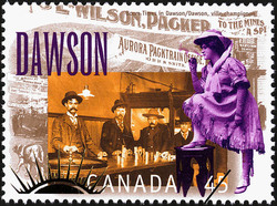 Boom Times in Dawson Canada Postage Stamp | Yukon Gold Discovery, 1896-1996