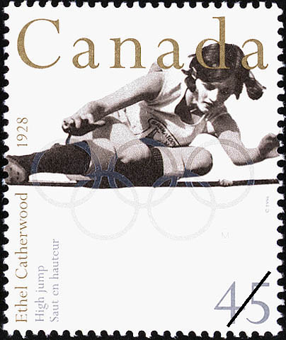 Ethel Catherwood, High Jump, 1928 Canada Postage Stamp | Sporting Heroes