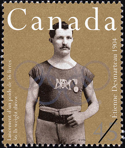 Etienne Desmarteau, 56-lb Weight Throw, 1904 Canada Postage Stamp | Sporting Heroes
