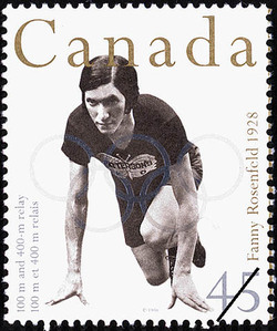 Fanny Rosenfeld, 100 m and 400 m Relay, 1928 Canada Postage Stamp