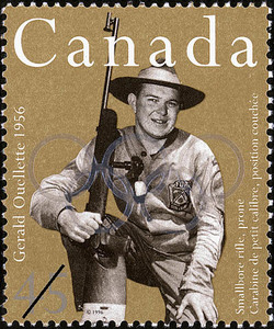 Gerald Ouellette, Smallbore Rifle, Prone, 1956 Canada Postage Stamp | Sporting Heroes