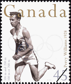 Percy Williams, 100 m and 200 m, 1928 Canada Postage Stamp | Sporting Heroes