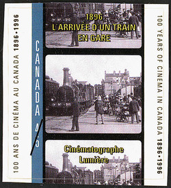 L'arrivee d'un train en gare, 1896, Cinematographe Lumiere Canada Postage Stamp | 100 Years of Cinema in Canada, 1896-1996