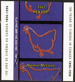 Hen Hop!, 1942, Norman McLaren Canada Postage Stamp | 100 Years of Cinema in Canada, 1896-1996