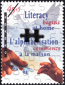 Literacy Begins at Home Canada Postage Stamp