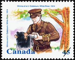 Winnie and Lieutenant Colebourn, White River, 1914 Canada Postage Stamp | Winnie the Pooh