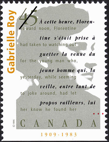 Gabrielle Roy, 1909-1983 Canada Postage Stamp | Authors