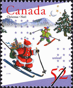 Santa Making a Downhill Delivery Canada Postage Stamp | Christmas, UNICEF