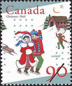 Christmas and Skating Canada Postage Stamp