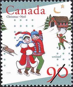 Christmas and Skating Canada Postage Stamp   Christmas, UNICEF