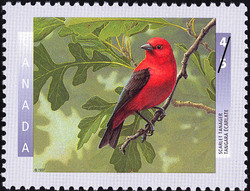 Scarlet Tanager Canada Postage Stamp | Birds of Canada