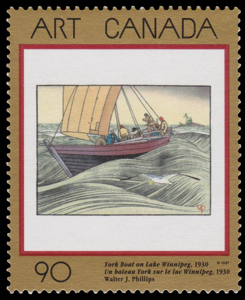 York Boat on Lake Winnipeg, 1930, Walter J. Phillips Canada Postage Stamp | Masterpieces of Canadian Art