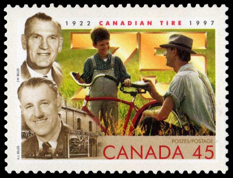 Canadian Tire, 1922-1997, Alfred J. Billes, John W. Billes Canada Postage Stamp