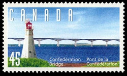 Confederation Bridge - Lighthouse  Postage Stamp