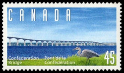 Confederation Bridge - Great Blue Heron Canada Postage Stamp | Confederation Bridge