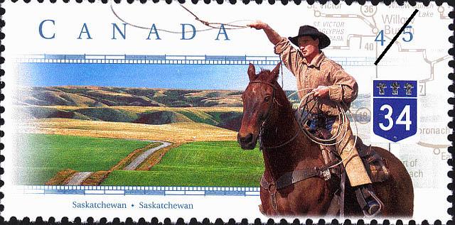 Highway 34, Saskatchewan Canada Postage Stamp | Scenic Highways