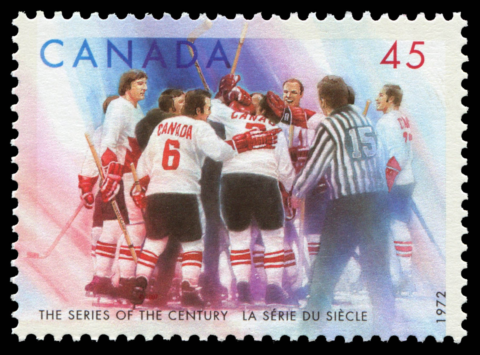 Canadian Team Members Celebrating Canada Postage Stamp   The Series of the Century, 1972