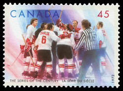 Canadian Team Members Celebrating Canada Postage Stamp | The Series of the Century, 1972