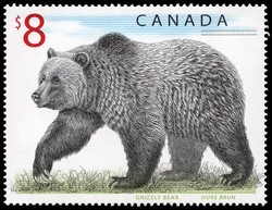 Grizzly Bear Canada Postage Stamp | Canadian Wildlife