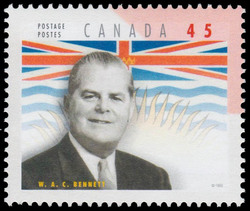 William Andrew Cecil Bennett Canada Postage Stamp | Premiers of the Canadian Provinces