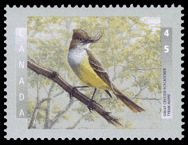 Great Crested Flycatcher Canada Postage Stamp | Birds of Canada