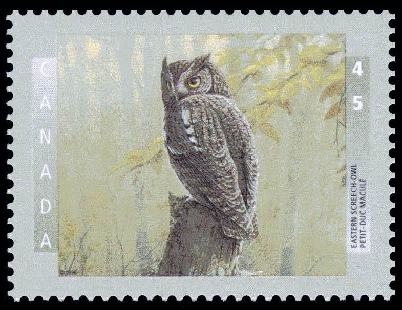 Eastern Screech-Owl Canada Postage Stamp | Birds of Canada