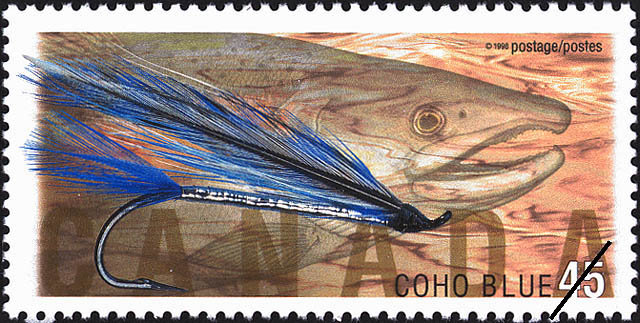 Coho Blue Canada Postage Stamp | Fishing Flies