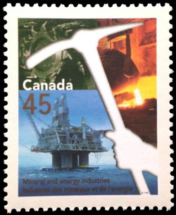 Mineral and Energy Industries Canada Postage Stamp