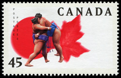 Rikishi Entanglement Canada Postage Stamp | Sumo Canada Basho
