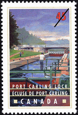 Port Carling Lock Canada Postage Stamp | Canals, Recreational destinations