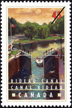 Rideau Canal, Summer Boating at Jones Falls Canada Postage Stamp | Canals, Recreational destinations