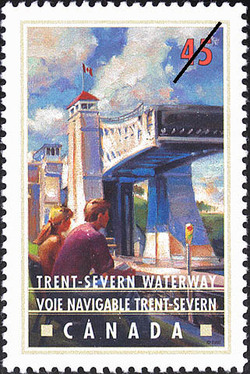 Trent-Severn Waterway, Hydraulic-lift Lock Canada Postage Stamp | Canals, Recreational destinations