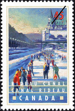Rideau Canal, Winter Skating by Parliament Canada Postage Stamp | Canals, Recreational destinations