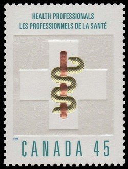 Health Professionals - Aesculapian Staff Canada Postage Stamp