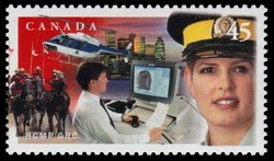 Portrait of an Officer in Working Uniform, Fingerprint Technician and a Royal Canadian Mounted Police, Helicopter Canada Postage Stamp | Royal Canadian Mounted Police - 125th Anniversary (1873-1998)