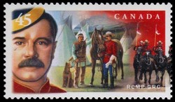 Portrait of an Officer in the North West Mounted Police, Royal North West Mounted Police Officer Meeting Stoney Natives Canada Postage Stamp | Royal Canadian Mounted Police - 125th Anniversary (1873-1998)